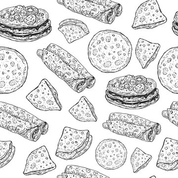Pancakes - monochrome graphic sketch seamless pattern. Doodle cartoon ornament for shrovetide holiday. Vector illustration