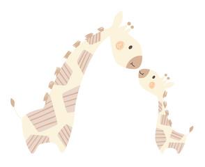 Giraffe mom and baby cute print. Sweet animal family.