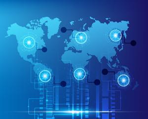 World map cyber digital bigdata online system business zone concept.Vector illustration EPS10