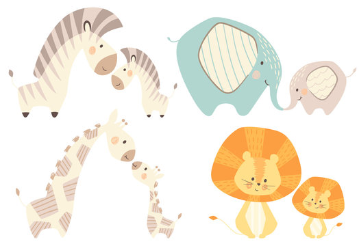Mom and baby lion giraffe, zebra, elephant baby cute print set.