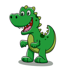 Green baby dino cartoon