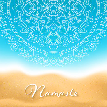 Flyer or brochure template with hand drawn mandala pattern on seashore background. Yoga classes banner. Vector Illustration