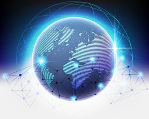Wireframe Global world cloud bigdata information network quality system.vector illustration EPS10