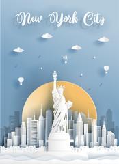 Fototapete - Paper cut style of world famous landmark of New York City, America . Vector illustration.