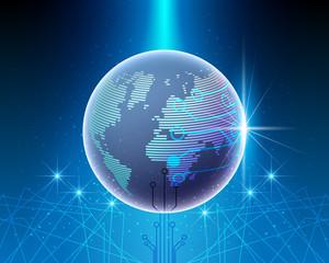 Global World map cyber line bigdata system transformation  network connection business  .Vector illustration EPS10