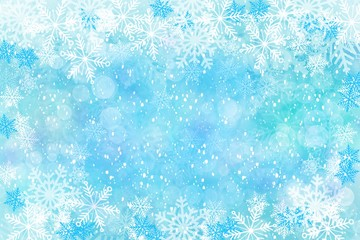 Winter Snowflake border background with snow, watercolor effect for illustration greeting card, invitation, posters, holiday