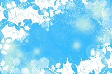 Cool Winter Blue holly glitter lights bokeh background