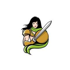 Beautiful Brave Knight Woman Mascot Logo