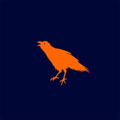 Raven Bird Silhouette Logo Symbol