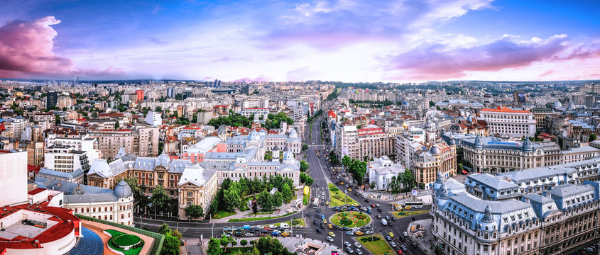 180 Degrees aerial panorama of the capital city of Romania, Bucharest.