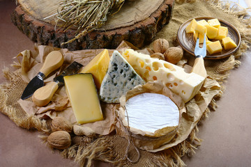 Italian cheese assorted, cheese with blue mildew, Camembert or brie cheese circle, Cheese Serving Knife. top view image with copy space, set