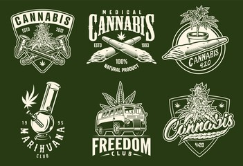 set of monochrome cannabis emblems