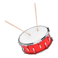 Red Bass Drum with Pair of Drum Sticks. 3d Rendering