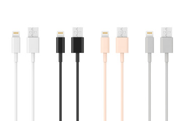 Multicolored 8 Pin Charger Cables for Smartphone. 3d Rendering