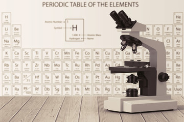 Modern Laboratory Microscope in front of Periodic Table of Elements. 3d Rendering