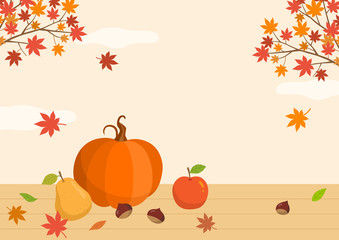Autumn fruits with maple leaves.Autumn background