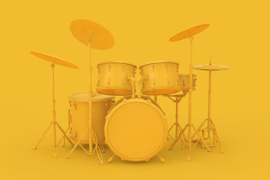 Abstract Yellow Clay Style Professional Rock Black Drum Kit. 3d Rendering