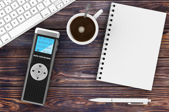 Journalist Digital Voice Recorder or Dictaphone, Keyboard, Blank Note Pad with Pen and Cup of Coffee. 3d Rendering