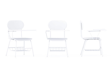 White Lecture School or College Desk Table with Chair in Clay Render Style. 3d Rendering