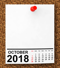 Calendar October 2018. 3d Rendering
