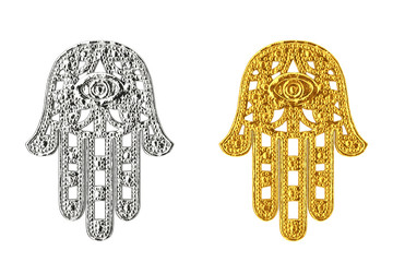 Golden and Silver Hamsa, Hand of Fatima Amulet Symbol . 3d Rendering