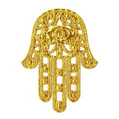 Golden Hamsa, Hand of Fatima Amulet Symbol. 3d Rendering