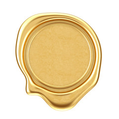 Gold Wax Seal with Blank Space for Your Design. 3d Rendering