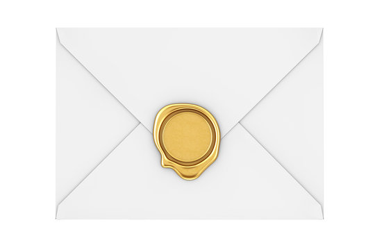 Letter Envelope with Golden Wax Seal. 3d Rendering