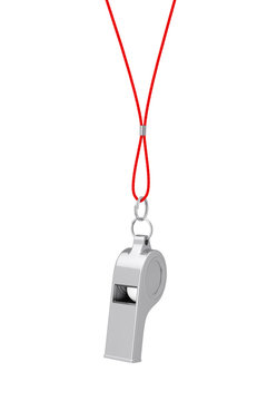 Classic Metal Coaches Whistle Hanging on Red Rope. 3d Rendering