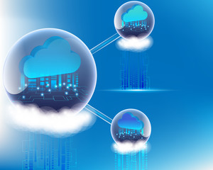 Cloud computing business Transaction data storage technology on the sky concept. vector illustration eps10.