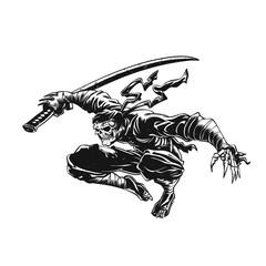 Ninja skeleton attacking , skull illustration , dark samurai , black warrior , gothic halloween