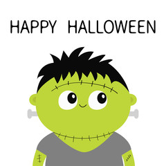 Frankenstein monster. Happy Halloween. Cute cartoon funny spooky baby character. Green head face. Greeting card. Flat design. White background. Isolated.