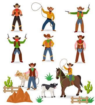 Cowboy vector western cow boy or wild west sheriff signs hat or horseshoe in wildlife desert with cactus illustration wildly horse character for rodeo set isolated on white background