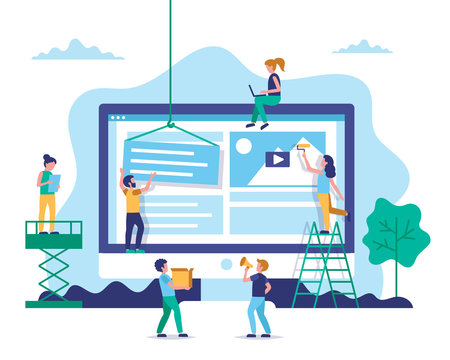 Website construction, web design concept illustration in flat style. People working on website. Characters doing various tasks, teamwork.