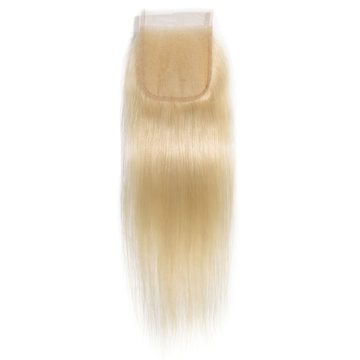 straight bleached blonde human hair weaves extensions lace closure
