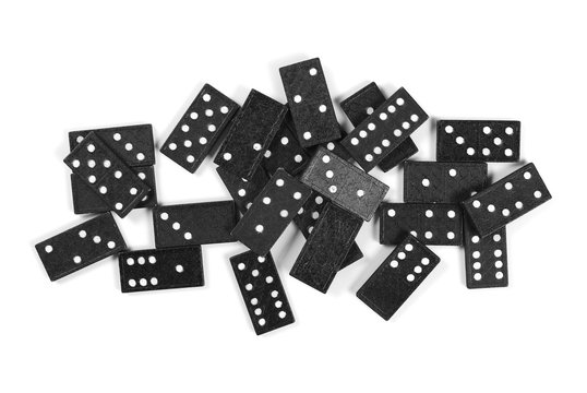 black dominoes, pieces isolated on white background, top view