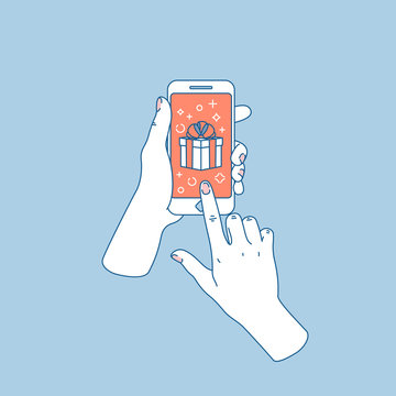 Woman hand holding smartphone. Gift notification. Social media notifications. Vector illustration
