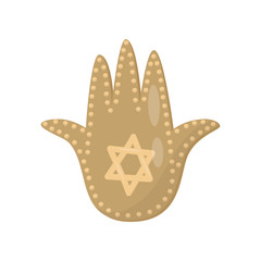 Jewish sacred amulet and religious symbol, palm of David vector Illustration on a white background
