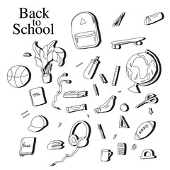 Back to school sketch elements. Black white education equipment: pen, notebook, calculator vector illustration. Student  drawing concept. Classroom objects poster.