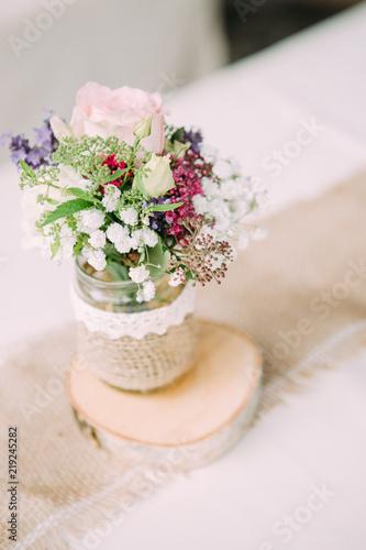 Blumen Dekoration Hochzeit Taufe Diy Selbstgemacht Stockfotos Und