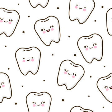Seamless pattern with cute teeth