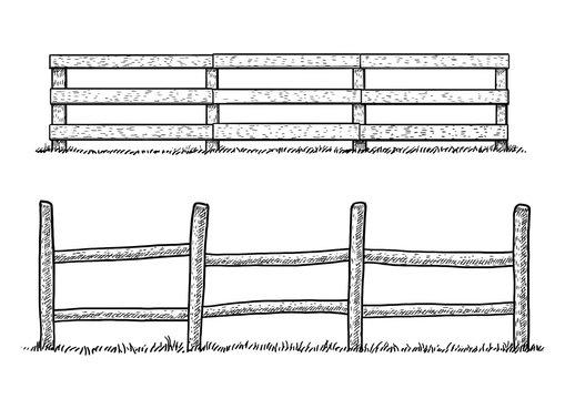 Wooden fence illustration, drawing, engraving, ink, line art, vector