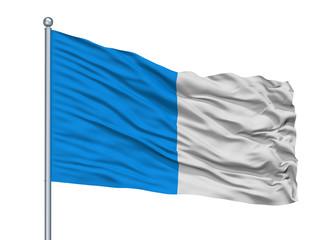 Dinant City Flag On Flagpole, Country Belgium, Isolated On White Background