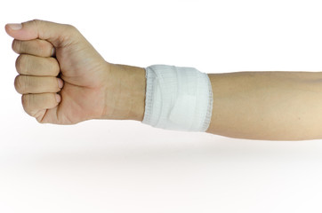 bandaged arm of a man