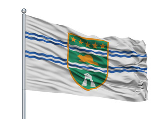 Surrey City Flag On Flagpole, Country Canada, British Columbia Province, Isolated On White Background