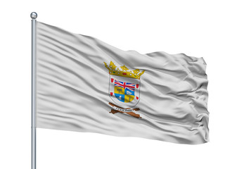 Coquimbo City Flag On Flagpole, Country Chile, Isolated On White Background