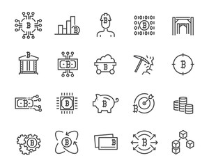 set of cryptocurrency icons ,such as bitcoin , blockchain, money and more