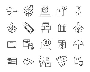 set of sending product icons , such as delivery, mail, service, shipping, transport, box and more