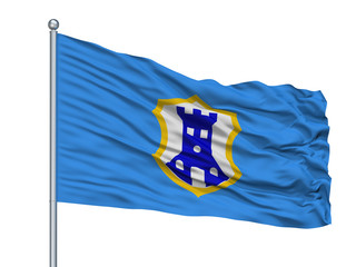 Pazina City Flag On Flagpole, Country Croatia, Isolated On White Background