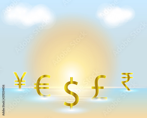 Currency Symbol Dollareuroindian Rupeebritish Poundchinese Yuan